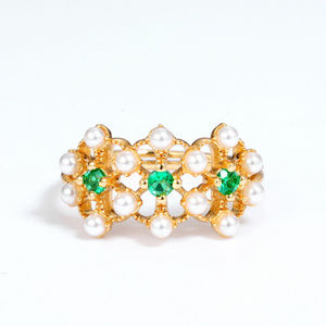 Pearl Emerald Engagement Ring Floral wedding band